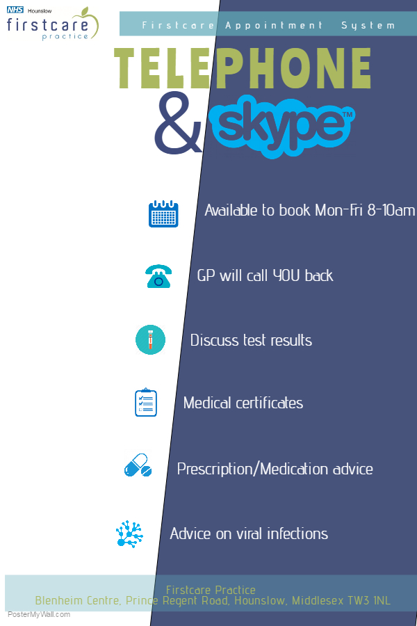 Telephone and Skype appts